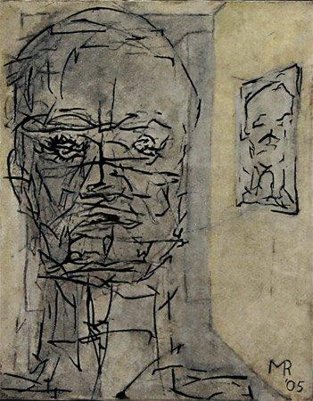 <strong>Der Präsident, Abgang</strong> 2005<br />Mischtechnik<br />28 x 22 cm