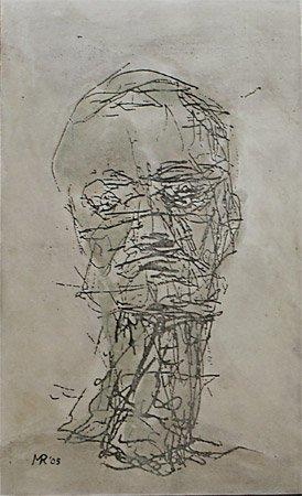 <strong>Der Präsident, geknickt</strong> 2005<br />Mischtechnik<br />70 x 43 cm