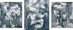 Frau von links - Kopf o.T. - Frau von rechtsTryptichon 2003Mischtechnik auf Leinwand80 x 185 cm
